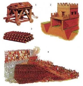 предполагаемая реконструкция «троянского коня» — деревянного тарана с крышей